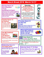 March Break at the Quinte West Public Library