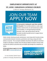 EMPLOYMENT OPPORTUNITY AT ST. ANNE UKRAINIAN CATHOLIC CHURCH