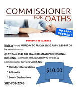 $10.00 - Commissioner of Oaths Services