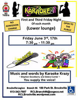 Karaoke  Friday  3rd, 17th  7:30- 11:30pm   Brockville Legion