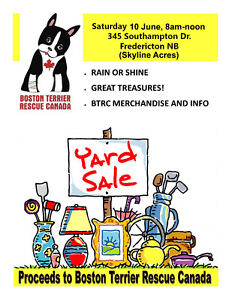 Yard Sale in Support of Boston Terrier Rescue Canada