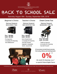 Steinway & Sons Back to School Sale!