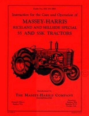 Massey Harris 55 55k Rice Hill Operators Service Manual