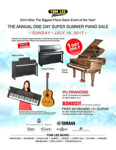 July 16th One Day Sale Richmond Tom Lee Music