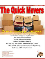 QUICK MOVERS/SHORT NOTICE/LOW RATE $60/hr 2 Movers 902-717-6372