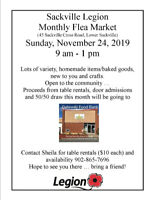 Sackville Legion Monthly Flea Market