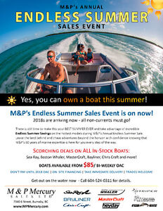 Endless Summer Boat Sale at M&P with incredible clearout pricing
