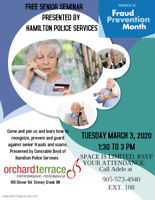 Free Senior Seminar on Preventing Scams and Frauds