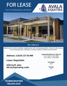 RESTAURANT SPACE IN WESTMOUNT FOR LEASE!