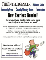 Adult & Youth newspaper carriers required