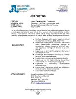 Infant Development Consultant-Temporary Part-Time 28hrs/wk