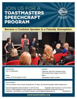 Toastmasters Speechcraft -Club 13-January 16- March 20th, 2019
