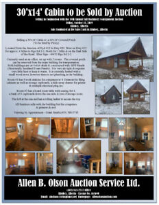 30'x14' Cabin to be Sold by Auction (By Proxy)