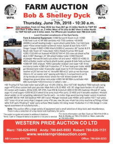 Farm Auction for Bob and Shelley Dyck of St Lina, AB