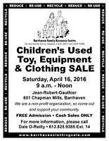 BFRC Children's Used Toy, Equipment and Clothing Sale