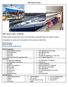 1981 Tanzer 7.5 (25') Sailboat for sale. Excellent condition