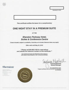 Sheraton Parkway Toronto North Hotel 1 night voucher