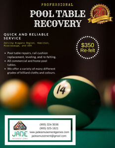 PROFESSIONAL POOL TABLE RECOVERY/REFELTING