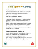 Peterborough Child and Family Centres: Volunteers Needed