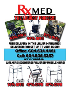Walkers, Scooters, Wheelchairs, Senior Care item! XMAS Pricing!!