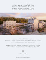 ELORA MILL HOTEL & SPA RECRUITMENT! Apply in Person with Resume