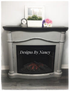 EUC Refinished Electric Fireplace!
