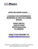 GAS FITTERS, PLUMBERS, SHEET METAL, REFRIGERATION POSITIONS
