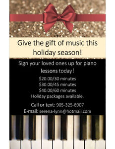 Piano lessons for all ages! Holiday packages available.