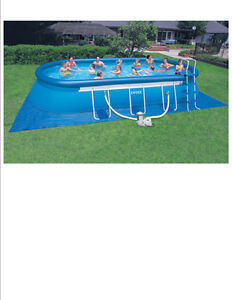 "Swimming Pool Intex 24' x 12' x 48"" Oval Ellipse Frame Free"