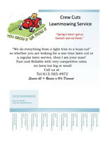 Local Lawn Mowing service ...dont wait till the season starts