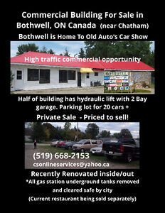 Building For Sale in Bothwell, ON -Restaurant & Garage in one