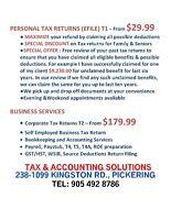 PERSONAL TAX RETURN (EFILE)  $29.99 - CORP.TAX RETURN $179.99