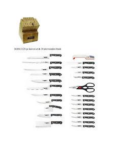 RONCO 25-pc knives set & 30-slot wooden block