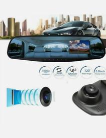 HD 1080P 4.3 inch Dual Lens Car DVR Rear View Mirror Dash Cam Video Ca