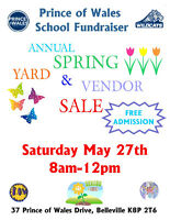 Prince of Wales School Fundraiser Vendor/Yard Sale May 27 8-12
