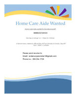 Home Care Aide Wanted