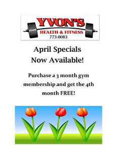 April Specials at Yvon's Health and Fitness!