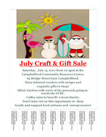 July Craft & Gift Sale, Vendor Booths Available!
