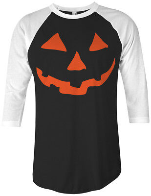 Orange Halloween Pumpkin Face Unisex Raglan T-Shirt Costume