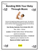 Bonding With Your Baby Through Music Sep 21-Oct 26