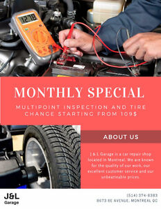 Monthly special: full check-up + tire change from 109$