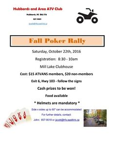 CANCELLED Hubbards and Area ATV Club Fall Poker Rally CANCELLED