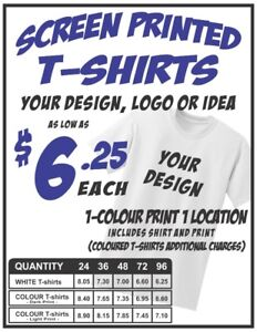 Custom Printed T-shirts!! Call for your quote today.