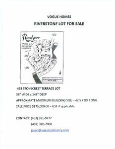 LARGE LOT IN QUIET CUL-DE-SAC FOR SALE IN RIVERSTONE