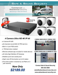 Professional 4 camera  4K security cameras package