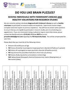 Seeking Volunteers for Research Study at UWO London Ontario image 1