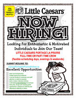 LITTLE CAESARS Portage la Prairie  FULL-TIME or PART-TIME