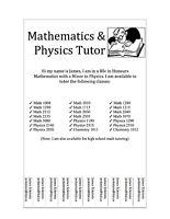 Math/Physics/Chem Tutor