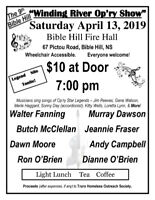 Bible Hill Winding River Op'ry Show- April 13th