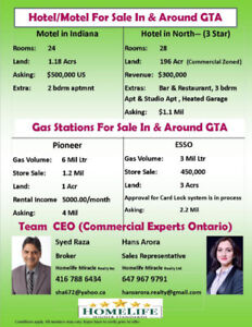 Hotel/Motel/Gas Stations for Sale